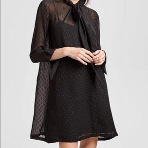 $395 Theory Black Metallic Silk Scarf Neck Dress